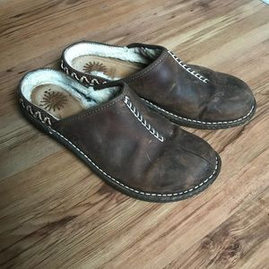 Dark brown ugg slip on Mules